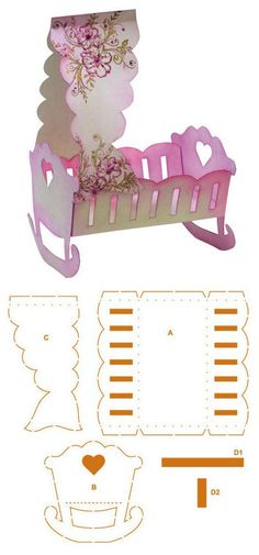 Cradle measuring approximately 14 cm x 21 cm x 9 cm - template 3d Paper Crafts, Paper Toys, Hobbies And Crafts, Diy And Crafts, Origami, Box Patterns, Marianne Design, Craft Box, Diy Box