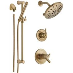 Delta Trinsic Thermostatic Shower System with Shower Head Sho Champagne Bronze Faucet Shower System Triple Handle Delta Trinsic, Tub And Shower Faucets, Shower Fixtures, Bathroom Faucets, Slide Bar, Shower Arm, Shower Systems, Shower Heads, Cleaning Wipes