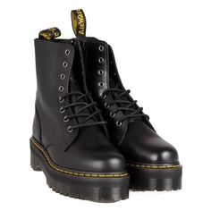 DR MARTENS Quad Retro Jadon biker boots featuring polyvore, women's fashion, shoes, boots, clothing, black, footwear, real leather boots, black leather boots, motorcycle boots, leather boots and moto boots