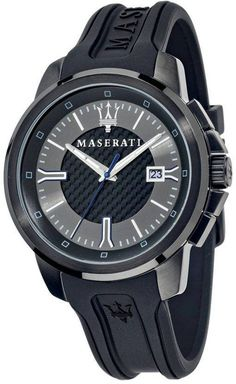Stainless Steel Case Rubber Strap Quartz Movement Caliber: Mineral Crystal Black/Silver Dial Analog Display Luminous Hands Date Display Pull/Push Crown Solid Case Back Buckle Clasp Water Resistance Approximate Case Diameter: Approximate Case Thickness: Maserati, White Watches For Men, Watch Sale, Stainless Steel Case, Black Silver, Quartz, Crystals, Accessories, Products