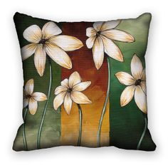 Decorative Pillow Cover Large White Flowers on Green Brown 18x18 ac110