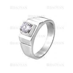 anillo de brillante cristal en acero plateado inoxidable -SSRGG271875
