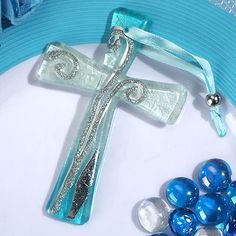 Murano style cross collection blue and silver design 5101-DC
