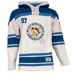574b8d0a0 Old Time Hockey Pittsburgh Penguins Lace Jersey Team Hoodie - White Hockey  Jersey Hoodie
