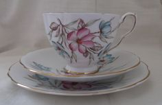 Royal Stafford bone china tea cup, saucer and plate (vintage trio). Ideal for vintage wedding, tea shop, display or use. by SwallowCAntiques on Etsy