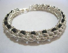 Ants Chainmaille and Czech Glass Bead Bracelet on Handmade Artists' Shop