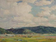 Joseph Sharp, American (1859-1953) Taos Valley, oil on board, signed lower left, framed.  #art #american #taos #western   www.linkauctiongalleries.com American Art, Tao, Framed Art, Joseph, Auction, Detail, Gallery, Board, Sign