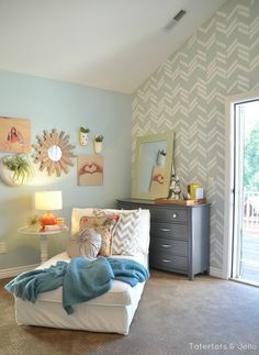 Master Bedroom Details - How to Make a Herringbone Wall! -- Tatertots and Jello