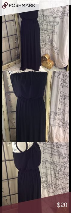 Sleeveless forever 21 black maxi dress size medium Forever 21 sleeveless   Black maxi dress Nice weight material gathers at the waist and around armpit area above breast Material tags have been removed but it is a very well-made dress length from top to bottom 52 inches waist 12 inches expands to 20 inches armpit to armpit 14 inches stretches to 20 inches Very good gently used condition Forever 21 Dresses Maxi