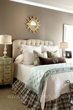 Upholstered tufted oatmeal linen headboard from Home Decorators Collection - via @Kim Nichols