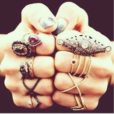 Gypsy style stacked rings for a modern hippie Bohemian look. FOLLOW http://www.pinterest.com/happygolicky/the-best-boho-chic-fashion-bohemian-jewelry-gypsy-/ for the BEST jewelry & boho chic fashion trends.
