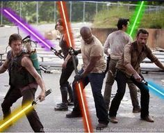 Look what I found! Is this not the coolest Walking Dead pic? LOL I mean how much more awesome could it get than the gang using Star Wars light sabers? LOL Very nice! ~Me  #thewalkingdead  #LOL #funny