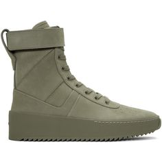 Fear of God Green Military High-Top Sneakers ($1,195) ❤ liked on Polyvore featuring shoes, sneakers, green, velcro high tops, perforated sneakers, lace up sneakers, zip sneakers and velcro sneakers