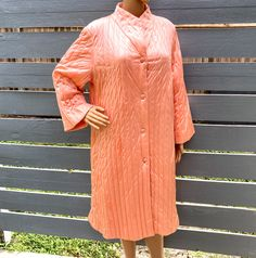Excited to share this item from my #etsy shop: XL 60s Housecoat by Vanity Fair Quilted Nylon Dressing Gown Vintage Pink Peach Robe Lounger Housedress 50s Hostess Diva Lounge Wear Glam