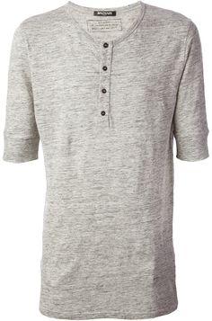 Grey Henley Shirt by Balmain