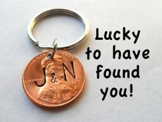 Personalized Couple Keychain, Lucky Penny,   Initial on Specific Year Key Chain, Key Ring for Husband, Wife, Boyfriend,   Girlfriend, Found You!, Valentines Day Gift Ideas, card