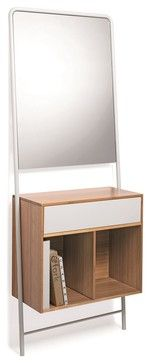 Posa Natural Bamboo Console with Metal Drawer and Mirror, White - contemporary - Storage Units And Cabinets - Modo Bath