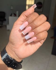 How to choose your fake nails? - My Nails Long Square Acrylic Nails, Long Square Nails, Summer Acrylic Nails, Best Acrylic Nails, Long Nail Designs Square, White Tip Acrylic Nails, White Acrylics, Acrylic Art, Summer Nails