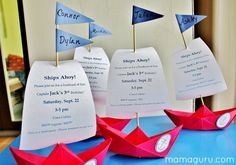 Create the most gorgeous boat party invitation for your Boat themed party! Wow your guests with a 3D paper boat that lists party details on its sails.