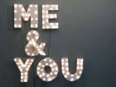 love this light-up lettering to hang on the wall! Pop Design, Design Fonte, Typographie Inspiration, All You Need Is Love, Neon Lighting, Table Lighting, Event Lighting, Lighting Design, My New Room