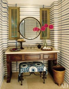 striped powder room