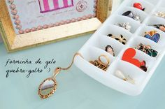 Use ice cube trays in drawers ~ makes perfect little cubbies for keeping jewelry separated & organized