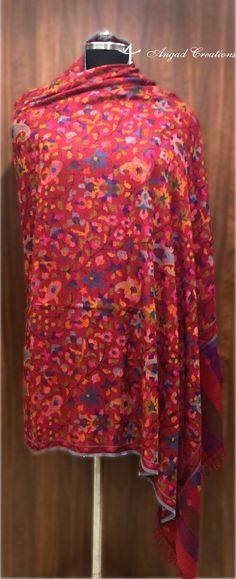 Graceful Red Kani Shawl #hand #woven #collectors #edition #fashion #kashmiri #india #women #kani #shawl #wrap #cashmere #pure #pashmina #red #traditional #multicolour Wardrobe Door Designs, Kashmiri Shawls, Cashmere Shawl, Boho Girl, Shawls And Wraps, Pure Products, Embroidery, Trending Outfits, Scarfs