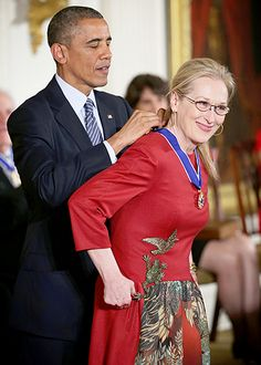 President Barack Obama presented the Presidential Medal of Freedom (the nation's highest civilian honor) to Iron Lady actress Meryl Streep during a formal ceremony in the White House on Monday, Nov. 24, in Washington, D.C.
