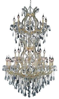 2801 Maria Theresa Collection Large Hanging Fixture D36in H56in Lt:32+2 Gold Finish. 2801 Maria Theresa Collection Large Hanging Fixture D36in H56in Lt:32+2 Gold Finish (Royal Cut Crystals) Watts:Lumens:Lamp Type:Shape:Style:TransitionalLight Bulbs:34Bulb Type:E12Bulb Wattage:40Max Wattage:1360Voltage:110V-125VFinish:GoldCrystal Trim:Royal CutCrystal Color:Crystal (Clear)Hanging Weight:122Case Pack: 1Color: Crystal (Clear)