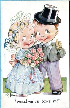 'Well, We've Done It!' ~ Vintage Kit Forres wedding postcard