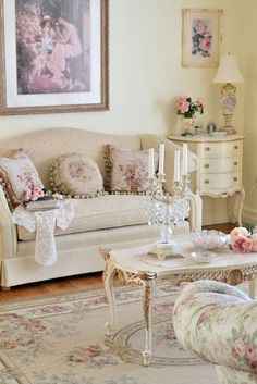 Sweetly feminine, subtly shabby living room decor at its loveliest...