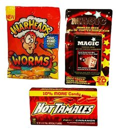 """3pc. """"Quality Time"""" Teen and Tween Gift Activity Set Hot Tamale Candy, Warheads Sour Worms, and Magic Card Deck RSB Innovations"""