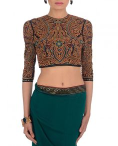 Teal Vintage Embroidered Saree Blouse - if paired with a navy blue pleated ball gown skirt = dope evening gown
