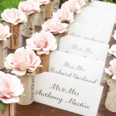 Blush Pink wedding Place Card Holders by Kara's Vineyard Wedding