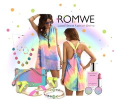 """""""romwe.com/Multicolor-Tie-dye-V-Neck-Sleeveless-knotted shirt dress"""" by susan-993 ❤ liked on Polyvore featuring Chanel, Enzo Angiolini, Ippolita, Marc Jacobs, Lipstick Queen, Sunday Somewhere and York Wallcoverings"""