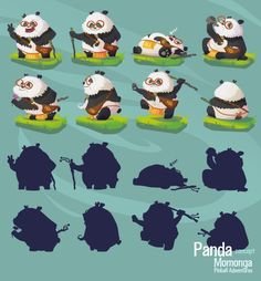 Concept art sketches of Panda The Panda. This quirky guy is your mentor in the indie game Momonga Pinball Adventures.