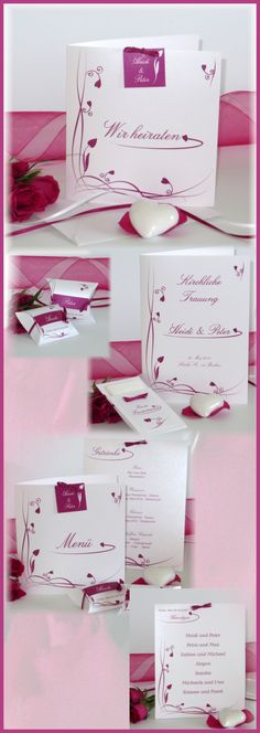 Besondere Hochzeitseinladungen mit Details in herrlich frischem Pink. Dazu passend könnt Ihr Euch die Gastgeschenke, Menükarten und alles für die Trauung aussuchen. Besonders süß sind die Taschen für die Freudentränen. Wenn Ihr von einer Traumhochzeit in Pink träumt, sind das genau die richtigen Hochzeitskarten. #hochzeit #hochzeitspapeterie #pink #herzen #ranken #deko #design