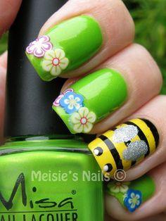 Cute garden themed mani!