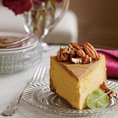 Pumpkin-Pecan Cheesecake | Test Kitchen Professional Pam Lolley combined the flavors of three holiday favorites--pumpkin pie, pecan pie, and cheesecake-- to create this luscious holiday dessert.