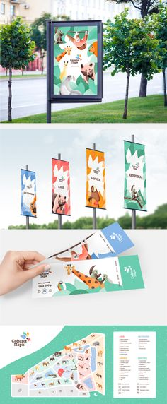 Strong colourful branding and illustrations for a zoo Ticket Design, Signage Design, Kids Branding, Branding Design, Zoo Signage, Zoo Logo, Destination Branding, Safari, Zoo Project