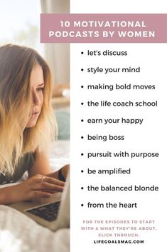 Top inspiring podcasts from women for twenty-somethings and thirty-somethings from business to spirituality. See which episodes are the best to start with by clicking through. Ted Talks, Boss Babe, Girl Boss, The Life Coach School, Overcoming Addiction, Essential Oil Set, Best Self, Along The Way, Life Goals