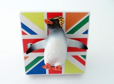 Funky Coloured Union Jack Rock Hopper Penguin Light Switch! Handmade by Candy Queen Designs