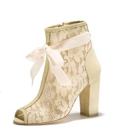 L'Absinthe - Super sexy open toe lace boot w/ silk velvet bow detail (can be worn with our without).