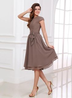 2ec83fb44b31 Brown A Line Bridesmaid Dress Scoop Neck Short Sleeves Tea Length Zipper Up  Covered Button Chiffon Wedding Party Dresses DHgate Olesa Cheap Junior ...