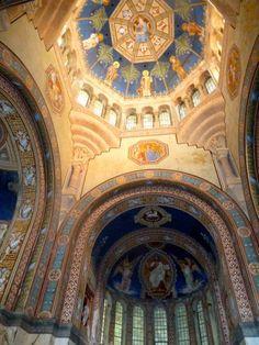 Inside the Votikapelle, King Ludwig II Memorial Chapel in Berg on the Starnberger See, Germany
