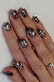 Black Gelish with sparkles