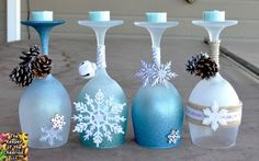 Winter Wonderland Christmas Wine Glasses (Candle Holders) - made with dollar store wine glasses and glitter blast spray paint store wine glass crafts Winter Wonderland Wine Glasses Candle Holders - The Keeper of the Cheerios Christmas Projects, Holiday Crafts, Christmas Crafts, Blue Christmas, Beautiful Christmas, Homemade Christmas, Christmas Ideas, Christmas Ornaments, Wine Glass Crafts