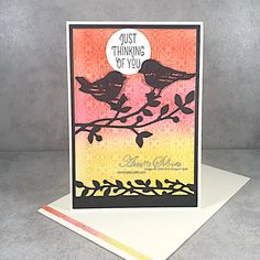 Sunset Silhouette, Silhouette Images, Bird Silhouette, Coral Accessories, Bird On Branch, Latest Colour, Bird Cards, Pretty Cards, White Ink