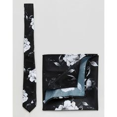 ASOS Winter Floral Tie And Pocket Square Set (925 PHP) ❤ liked on Polyvore featuring men's fashion, men's accessories, black and mens tie accessories