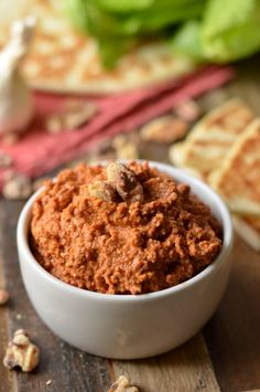 Muhammara Recipe, Vegetarian Recipes, Cooking Recipes, Yummy Recipes, Yummy Food, Pomegranate Molasses, Roasted Red Peppers, Dried Peppers, Vegan Appetizers